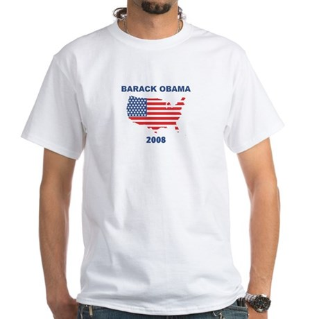 BARACK OBAMA 2008 (US Flag) White T-Shirt
