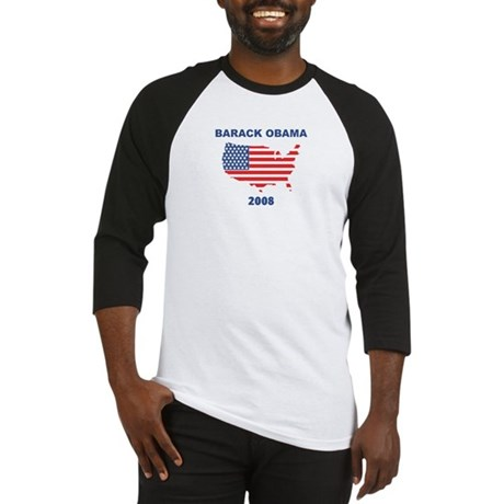 BARACK OBAMA 2008 (US Flag) Baseball Jersey