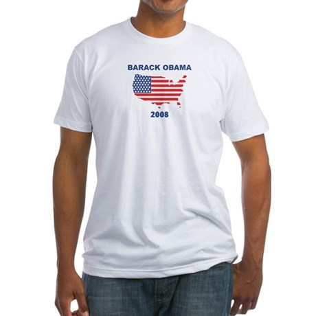 BARACK OBAMA 2008 (US Flag) Fitted T-Shirt