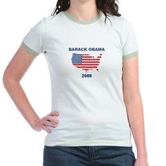 BARACK OBAMA 2008 (US Flag) Jr. Ringer T-Shirt
