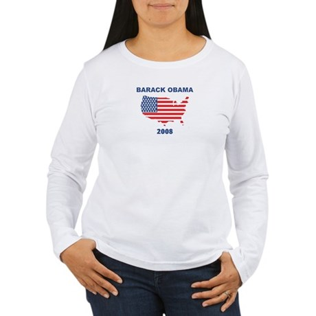 BARACK OBAMA 2008 (US Flag) Women's Long Sleeve T-