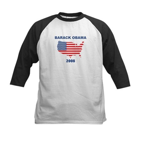 BARACK OBAMA 2008 (US Flag) Kids Baseball Jersey