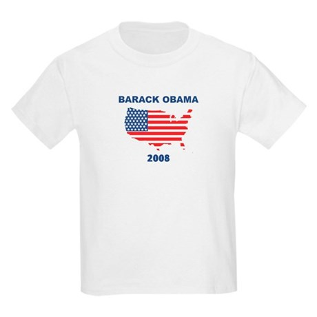 BARACK OBAMA 2008 (US Flag) Kids Light T-Shirt