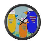 Whimsical Nurse Birds Large Wall Clock
