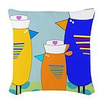 Whimsical Nurse Birds Woven Throw Pillow