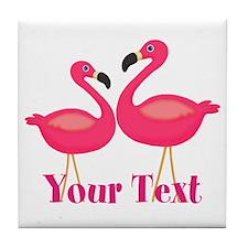 Personalizable Pink Flamingoes Tile Coaster
