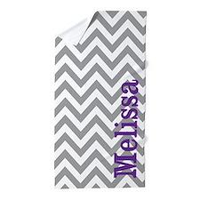 Gray Purple Chevron Personalized Beach Towel