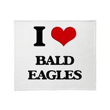 I Love Bald Eagles Throw Blanket