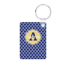 Blue Yellow Quaturefoil Personalized Keychains