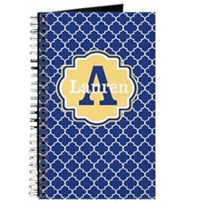 Blue Yellow Quaturefoil Personalized Journal