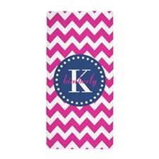 Pink And Blue Monogram Chevron Pattern Beach Towel