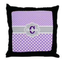 Purple Gray Dots Quatrefoil Personalized Throw Pil