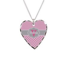 Pink Dots Quatrefoil Personalized Necklace