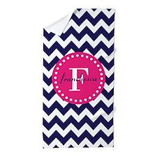 Navy Blue and Pink Chevron Monogram Beach Towel