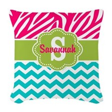 Pink Green Teal Chevron Personalized Woven Throw P