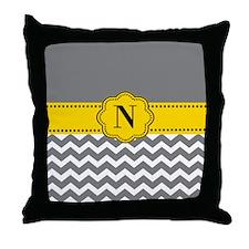 Gray Yellow Chevron Monogram Throw Pillow