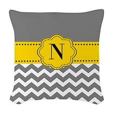 Gray Yellow Chevron Monogram Woven Throw Pillow