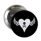 Skull + Heart + Wings Button