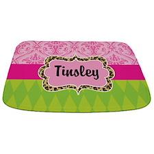 Pink Green Damask Leopard Personalized Bathmat