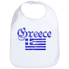 Greek distressed flag Bib