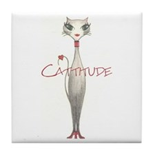 Cattitude Tile Coaster