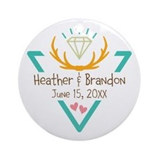 Hipster Wedding or Engagement Gift Ornament (Round