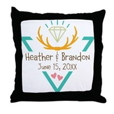 Hipster Wedding or Engagement Gift Throw Pillow