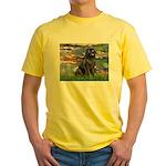 Lilies2-Newfie2 Yellow T-Shirt