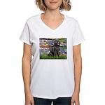 Lilies2-Newfie2 Women's V-Neck T-Shirt