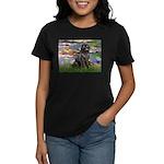Lilies2-Newfie2 Women's Dark T-Shirt