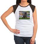 Lilies2-Newfie2 Women's Cap Sleeve T-Shirt