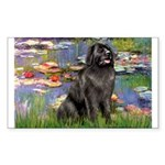 Lilies2-Newfie2 Sticker (Rectangle)