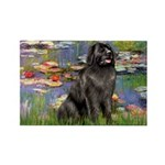 Lilies2-Newfie2 Rectangle Magnet (10 pack)