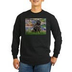 Lilies2-Newfie2 Long Sleeve Dark T-Shirt
