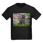Lilies2-Newfie2 Kids Dark T-Shirt