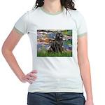 Lilies2-Newfie2 Jr. Ringer T-Shirt
