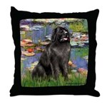 Lilies2-Newfie2 Throw Pillow