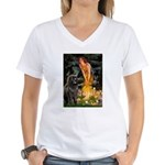 Fairies & Newfoundland Women's V-Neck T-Shirt