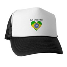 Custom Brazil Flag Heart Trucker Hat