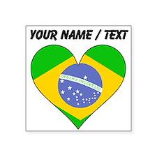 Custom Brazil Flag Heart Sticker