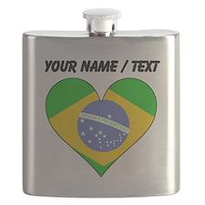 Custom Brazil Flag Heart Flask