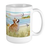 Beach Scene & Welsh Corgi Mug