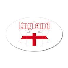 English Flag Ribbon - St 35x21 Oval Wall Decal