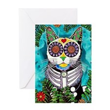 Sugar Skull Cat Greeting Cards
