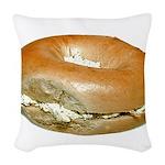 bagelandcreamcheese Woven Throw Pillow