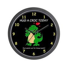 Hug A Crocodile Wall Clock
