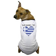 Custom Greece Flag Heart Dog T-Shirt