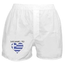 Custom Greece Flag Heart Boxer Shorts