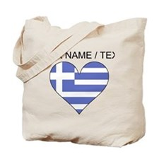 Custom Greece Flag Heart Tote Bag