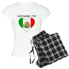 Custom Mexico Flag Heart Pajamas